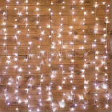 """Гирлянда """"Светодиодный Дождь"""" 1,5х1,5м, свечение с динамикой, прозрачный провод, 220В, диоды БЕЛЫЕ"""